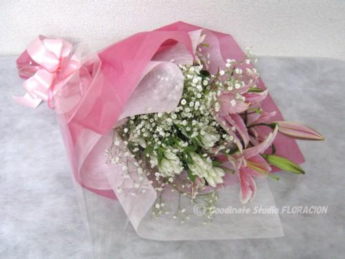 花束 百合 ピンク