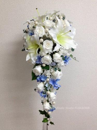 キャスケードブーケ 造花 プリザーブドフラワー サムシングブルー