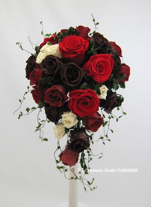 プリザーブドフラワー ブライダルブーケ 赤バラ