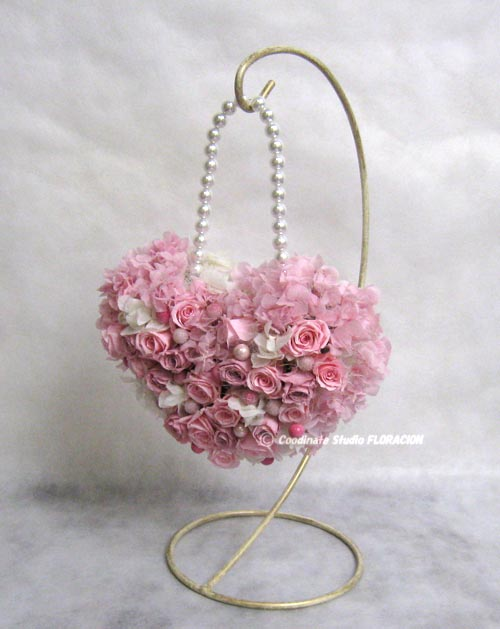 プリザーブドフラワー バックブーケ ハート型 ピンク