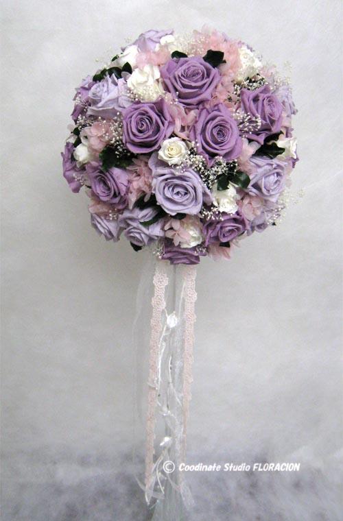 プリザーブドフラワー ラウンドブーケ 手作り 紫色