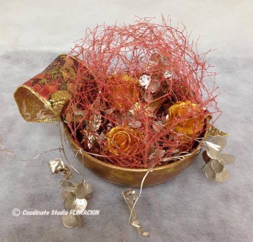 プリザーブドフラワー アレンジメント ゴールド バラ