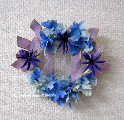 シルクフラワー リース 青紫