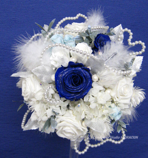プリザーブドフラワー 手作りブーケ 青いバラ