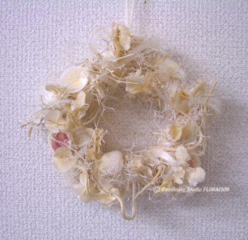 プリザーブドフラワー リース オフホワイト 貝殻
