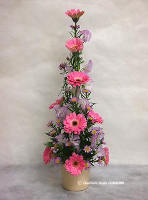 フレッシュフラワー アレンジメント 花器 ベージュ