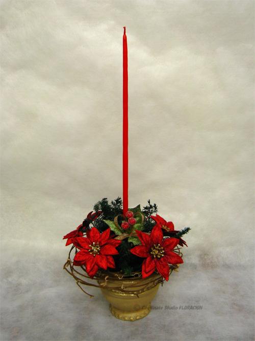シルクフラワー アレンジメント クリスマス キャンドル