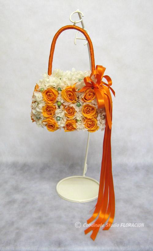 プリザーブドフラワー バックブーケ オレンジ色