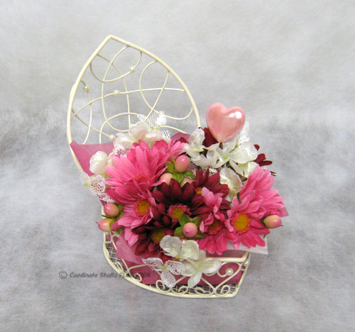 造花 フラワーアレンジメント バレンタイン ピンク