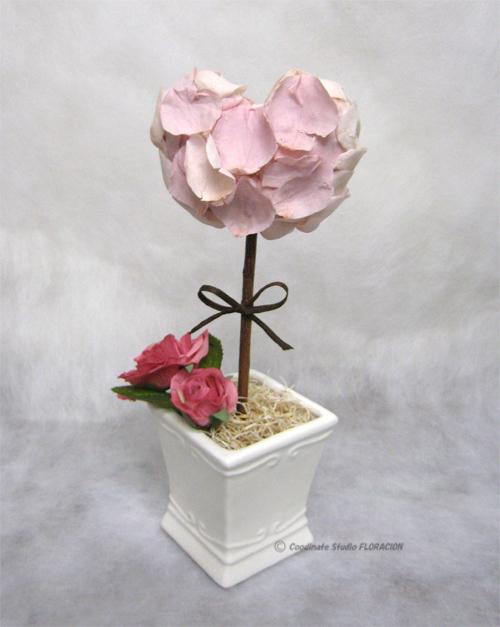 プリザーブドフラワー トピアリー バレンタイン ハート ピンク