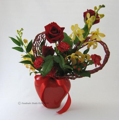 フレッシュフラワー 生花 アレンジメント バレンタイン 赤