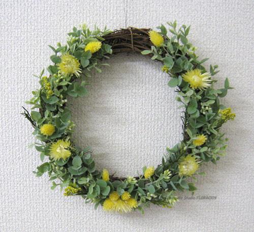 プリザーブドフラワー シルクフラワー 造花 リース 黄色