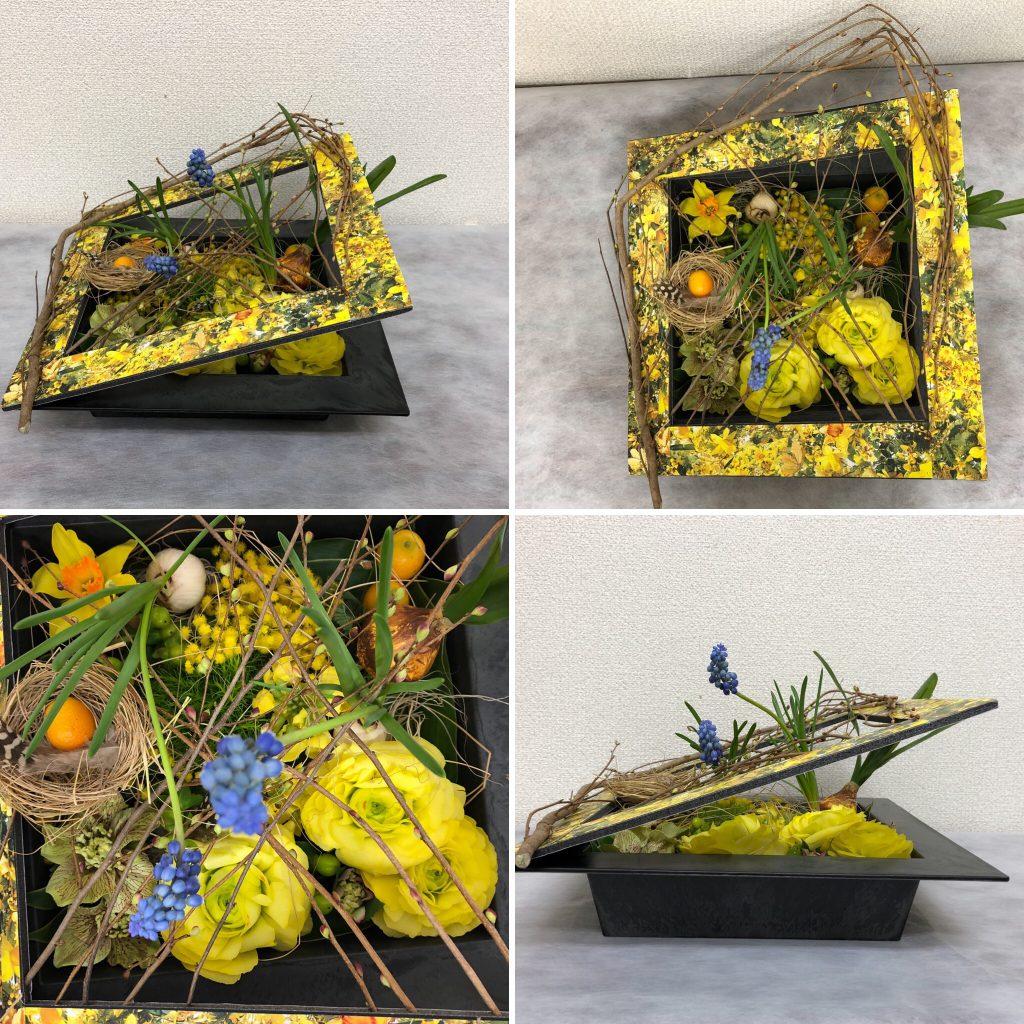 イースターのフラワーアレンジメント 教室 大阪 生花 造花